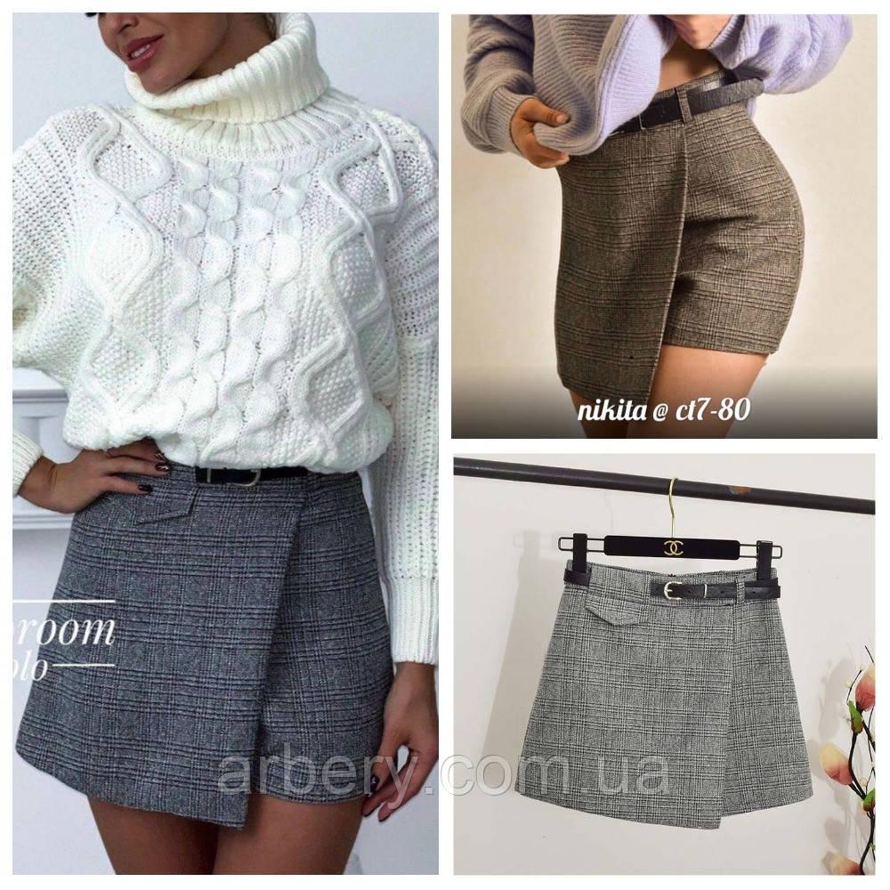 Женская твидовая юбка-шорты