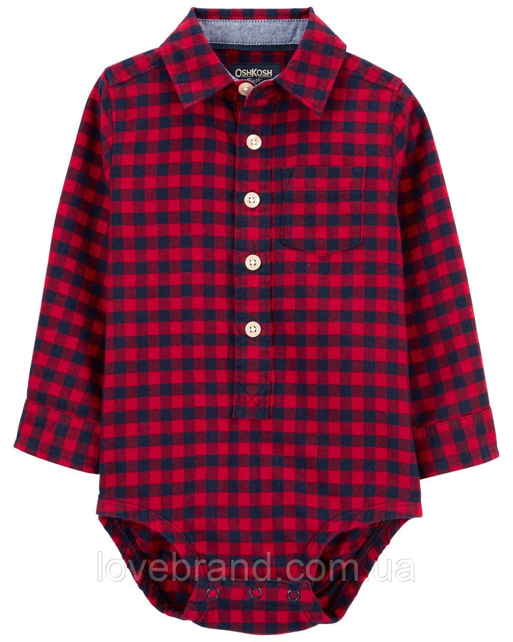 Фланелевая рубашка-боди для мальчика OshKosh (США) красная клетка