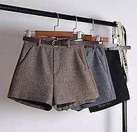Женские твидовые шортики с поясом, фото 1
