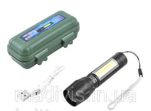 Ручной аккумуляторный фонарь BL-513, XPE+COB, ЗУ mircoUSB