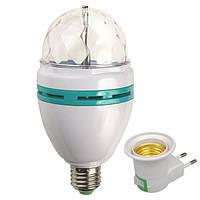 Диско шар/лампочка светодиодная E27 с переходником под розетку
