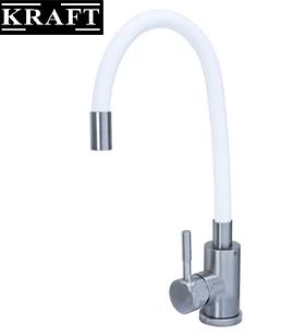 Змішувач для кухонної раковини Kraft 3004-WH з гнучким носиком