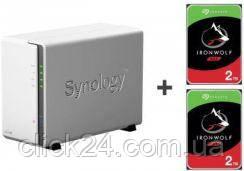 Synology DS220j 4TB (2xHDD,4x1.4GHz,512MB,2xUSB,1xLAN) (DS220JWZESTAWIE2XST2000VN004)