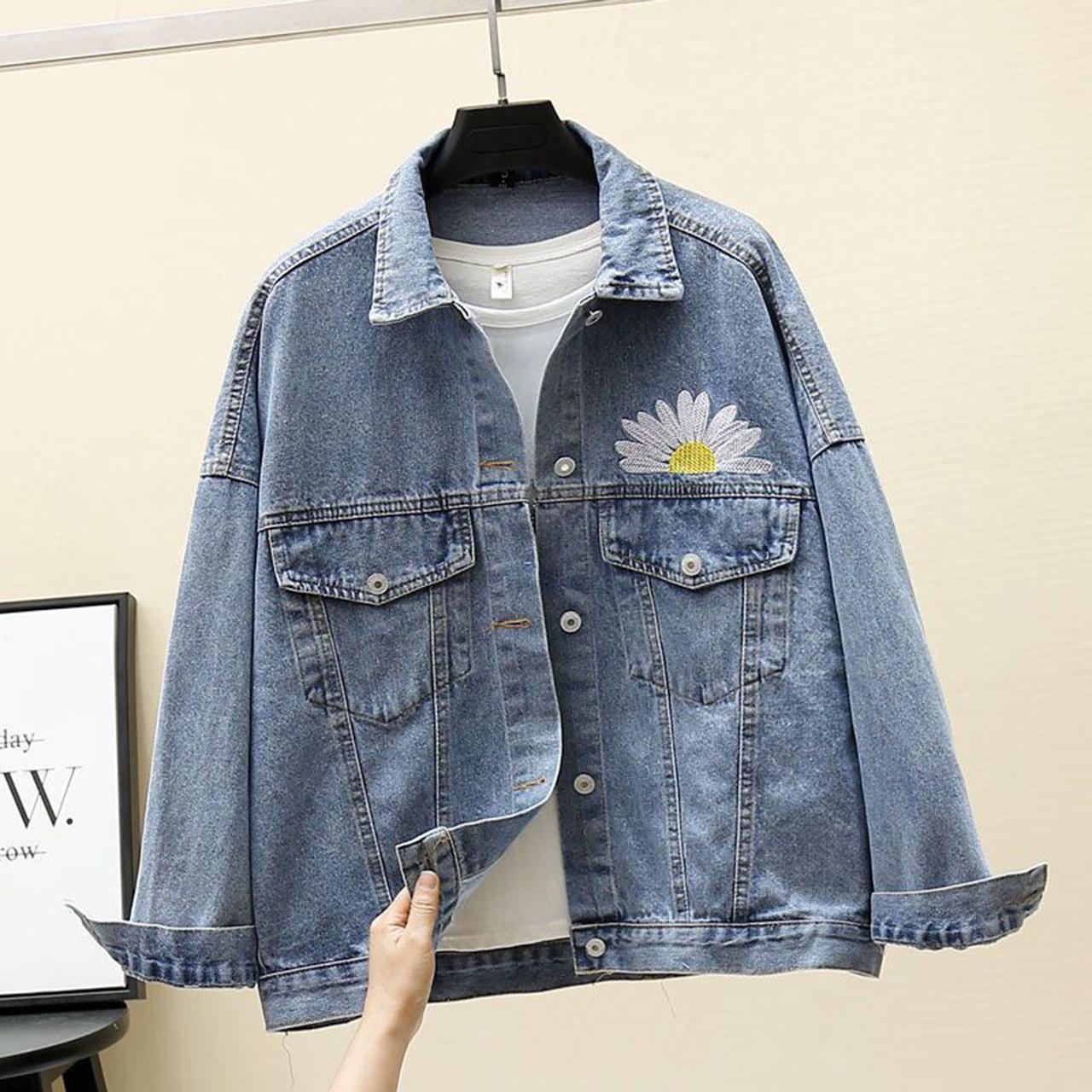 Куртка женская джинсовая укороченная с ромашкой синяя Fashion #72