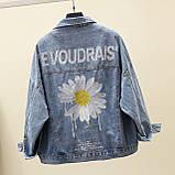 Куртка женская джинсовая укороченная с ромашкой синяя Fashion #72, фото 3