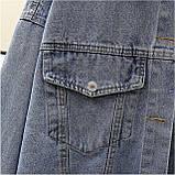 Куртка женская джинсовая укороченная с ромашкой синяя Fashion #72, фото 6