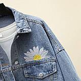 Куртка женская джинсовая укороченная с ромашкой синяя Fashion #72, фото 7