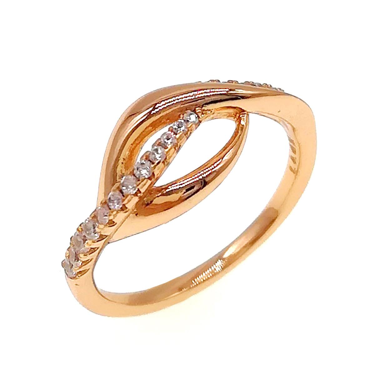 Кольцо Xuping из медицинского золота, белые фианиты, позолота 18K, 11878                         (19)