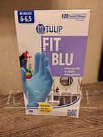 Перчатки нитриловые TULIP Италия 100 шт, размер S синие или голубые качественный нитрил