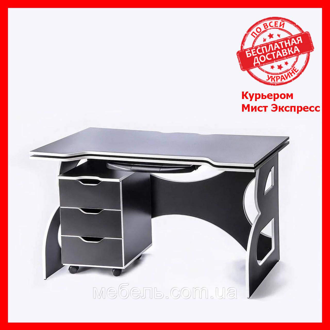 Компьютерный стол с тумбой Barsky Game White HG-06/СUP-06/ПК-01