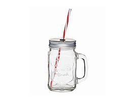 HM Чашка стеклянная с крышкой и трубочкой 450мл