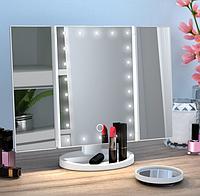 Косметическое зеркало для макияжа с подсветкой LED Magnifying Mirror white Настольное зеркало тройное