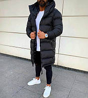 Мужская стильная удлиненная куртка плащевка на силиконе