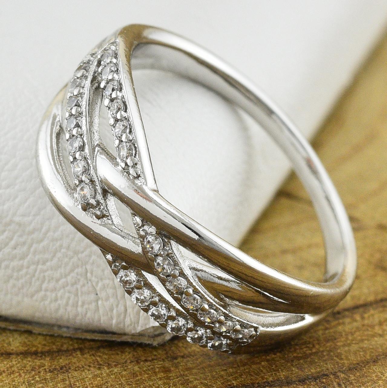 Кольцо Xuping 30566 размер 17 ширина 8 мм вес 2.6 г белые фианиты позолота Белое золото