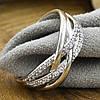 Кольцо Xuping 30566 размер 17 ширина 8 мм вес 2.6 г белые фианиты позолота Белое золото, фото 2