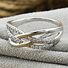 Кольцо Xuping 30566 размер 17 ширина 8 мм вес 2.6 г белые фианиты позолота Белое золото, фото 4