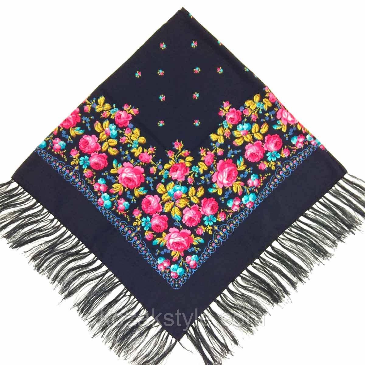 Народна хустка з бахромою 140х140 синя