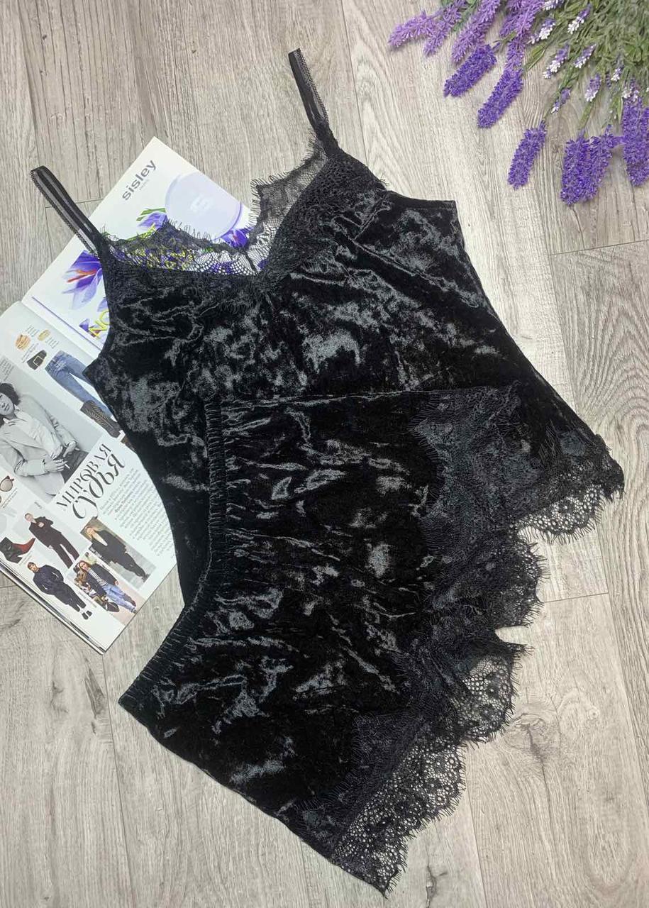 Пижама из редкого турецкого мраморного велюра с кружевом, комплект майка и шорты TyT