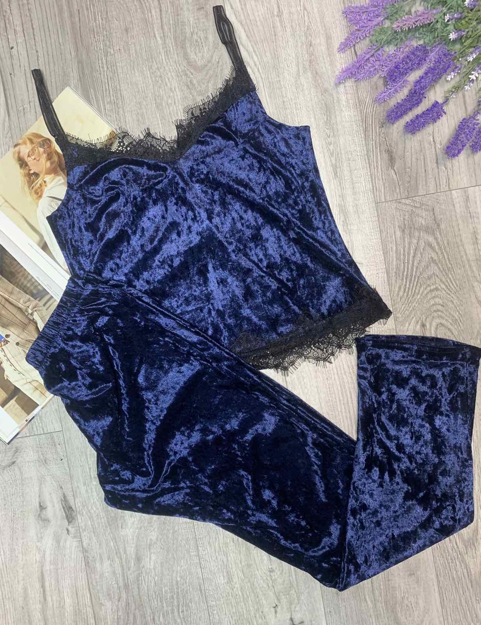 Пижама из редкого турецкого мраморного велюра с кружевом, комплект майка и брюки TyT