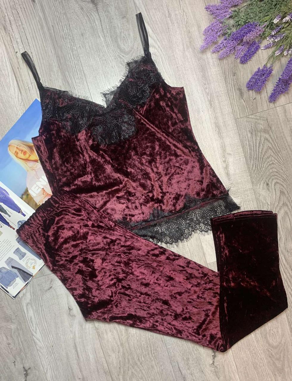 Пижама из редкого турецкого мраморного велюра с кружевом, комплект майка и штаны TyT