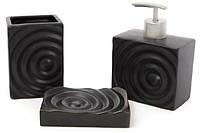"""Набор аксессуаров для ванной комнаты BonaDi """"Circles"""" черный 851-243(дозатор, стакан для зубных щеток,"""