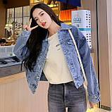Куртка женская джинсовая короткая светло-синяя Girl #75, фото 4
