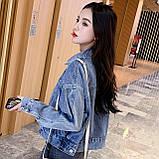 Куртка женская джинсовая короткая светло-синяя Girl #75, фото 2
