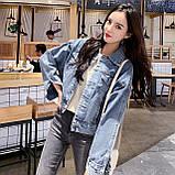 Куртка женская джинсовая короткая светло-синяя Girl #75, фото 6