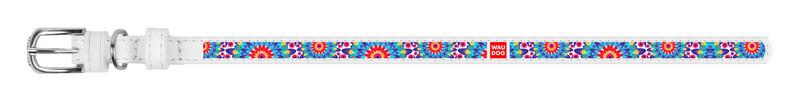 Ошейник WAUDOG Design Цветы кожа белый 378715 (4823089309941)