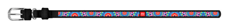 Ошейник WAUDOG Design Цветы кожа черный 37591 (4823089310480)