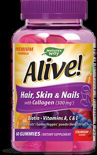Nature's Way Hair Skin & Nails with Collagen  (300 мг) , биотин (5000 мкг) 60 жевательных конфет