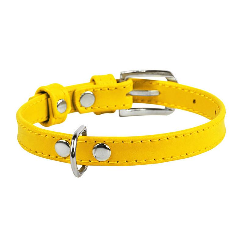 Нашийник WAUDOG Glamour шкіра жовтий 32568 (2032568000008)