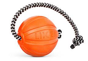 Мячик LIKER Cord 5 5 см оранжевый для мелких пород собак со шнуром 6285 (4823089303758)