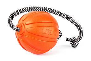 Мячик LIKER Cord 9 9 см оранжевый для собак крупных пород со шнуром 6297 (4820152569967)