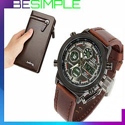 Мужские наручные тактические часы AMST + Подарок портмоне кошелек Baellerry Italia