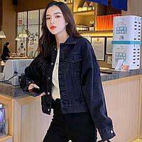 Куртка женская джинсовая короткая черная Girl #76