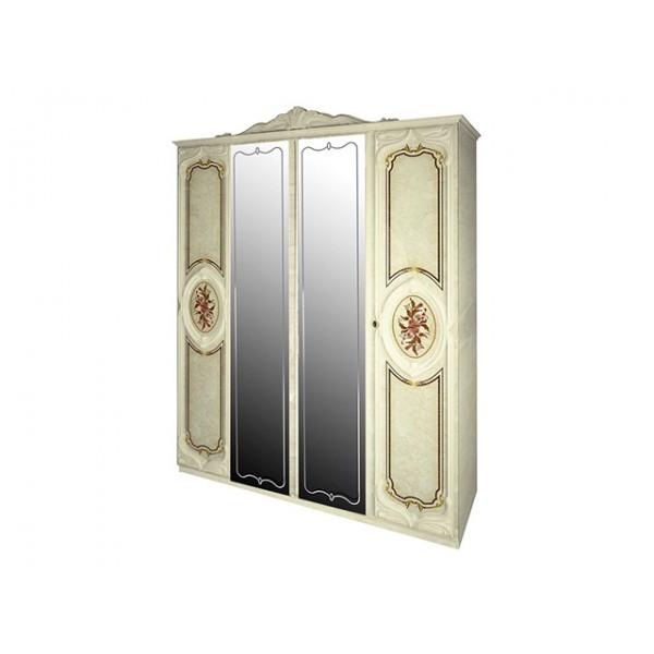 Шкаф распашной в спальню с зеркалом из ДСП и МДФ Реджина  4Д MiroMark