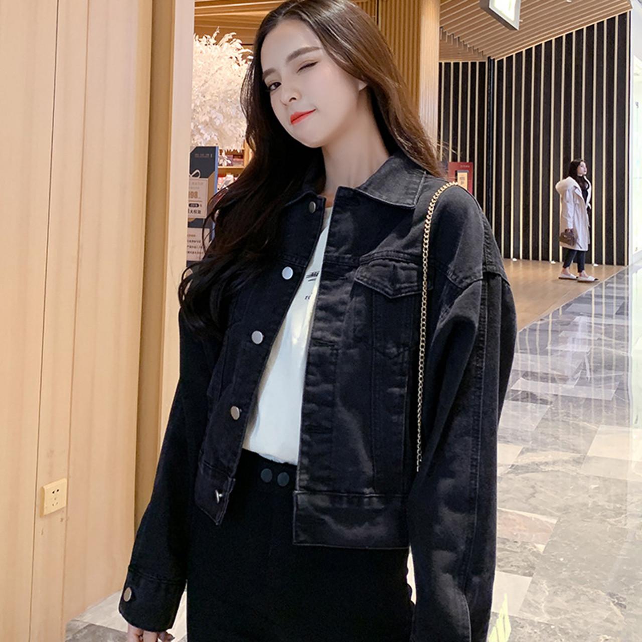 Куртка жіноча джинсова коротка чорна Girl #76 S