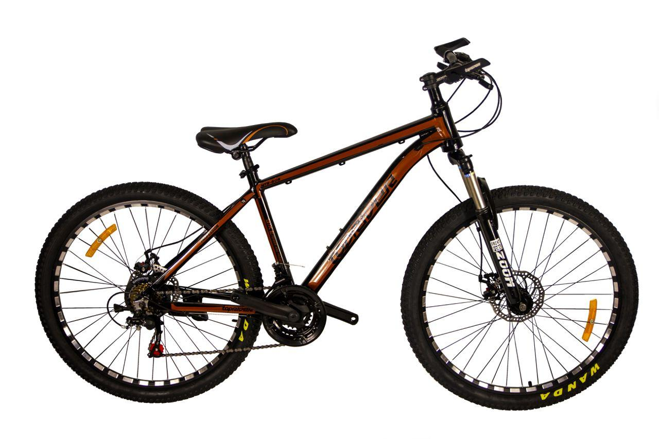 """Гірський велосипед TopRider 680 R26"""" 17"""" алюмінієвий з дисковими гальмами (Коричневий)"""