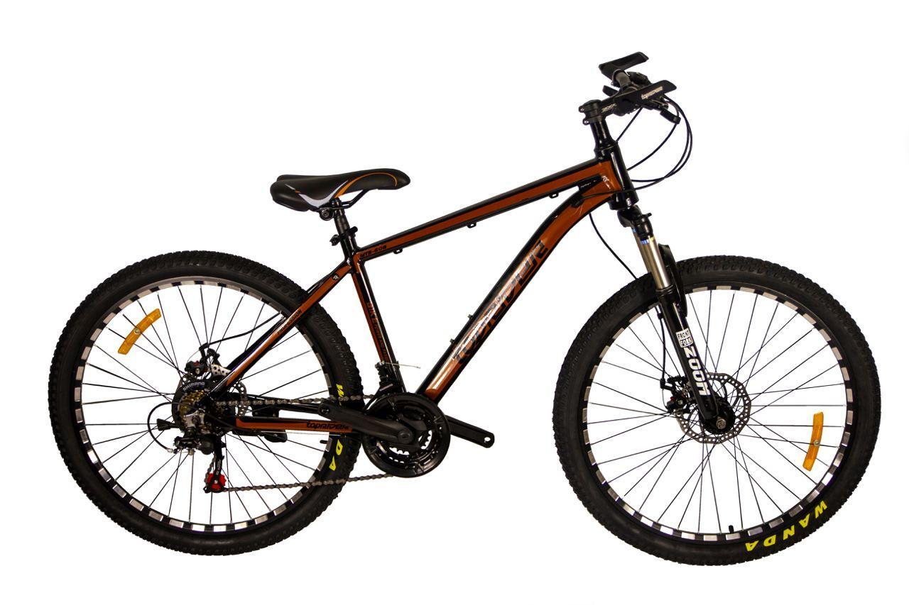"""Горный велосипед TopRider 680 26"""" алюминиевый с дисковыми тормозами, Коричневый"""