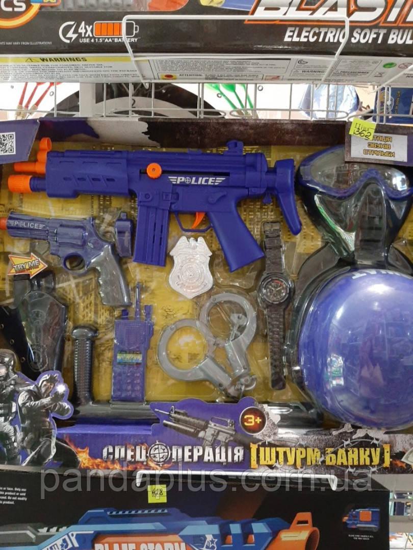 Набор полиции 33540 (12шт) каска, маска, автомат, пистолет, кобура, наручники, в кор-ке, 59-40-6см