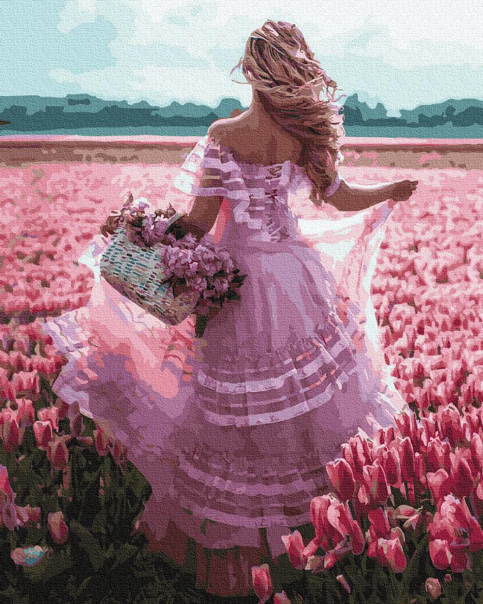 Картина по номерам Девушка в цветочном поле 40 х 50 см (BK-GX30366)