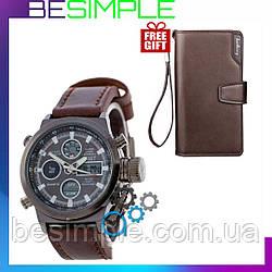 Мужские наручные тактические часы AMST + Кошелек Baellerry Business в Подарок