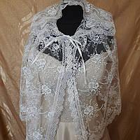 Свадебный Кружевной красивый нежный Венчальный Шарф Капюшон Белого Цвета