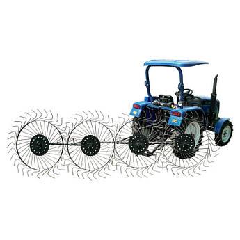 Граблі до мінітрактора 4-колісні ворушилки Сонечко ГР6