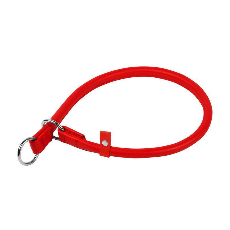 Ошейник-удавка рывковый WAUDOG Glamour кожа красный 75373 (4823089301891)