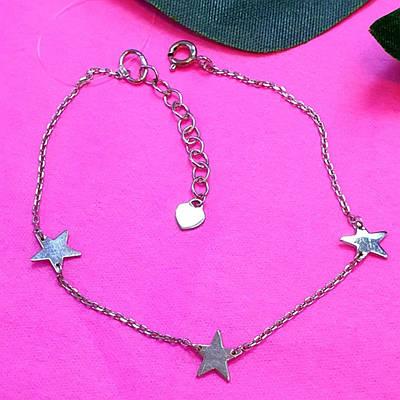 Срібний браслет Зірки - Ніжний мінімалістичний браслет Зірочки срібло 925
