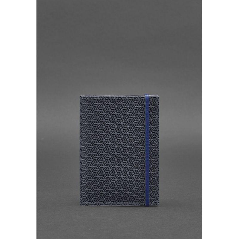 Кожаная обложка для паспорта 2.0 Карбон синяя