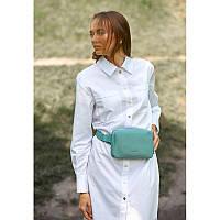 Кожаная женская поясная сумка Dropbag Mini бирюзовая, фото 1