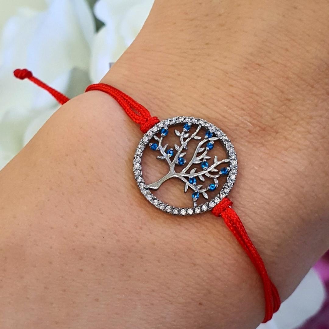 Браслет оберег красная нить Дерево Жизни - Серебряный браслет красная нить - Браслет красная нить с серебром